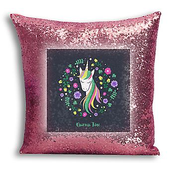 i-Tronixs - Unicorn Printed Design Rose Gold Sequin Cushion / Pillow Cover with Inserted Pillow for Home Decor - 15
