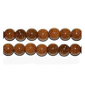 Strand 38+ Brown Goldstone 10mm Plain Round Beads GS1609-4