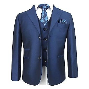Boys Sheen Effect Parliament Blue Wedding Suit