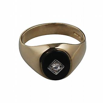 9ct Gold 13x11mm onyx & CZ oval gents Signet Ring Size V