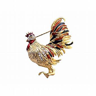 Beautiful Colorful Gold Plated Hen Brooch with Cubic Zircon