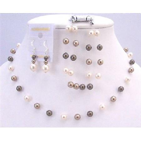Tri Pearls Color Bronze Ivory Brown Custom Wedding Prom Jewelry Set