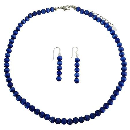6mm Cat Eye Necklace Set Royal Blue Sterling Silver Necklace Set Handmade Beaded Jewelry