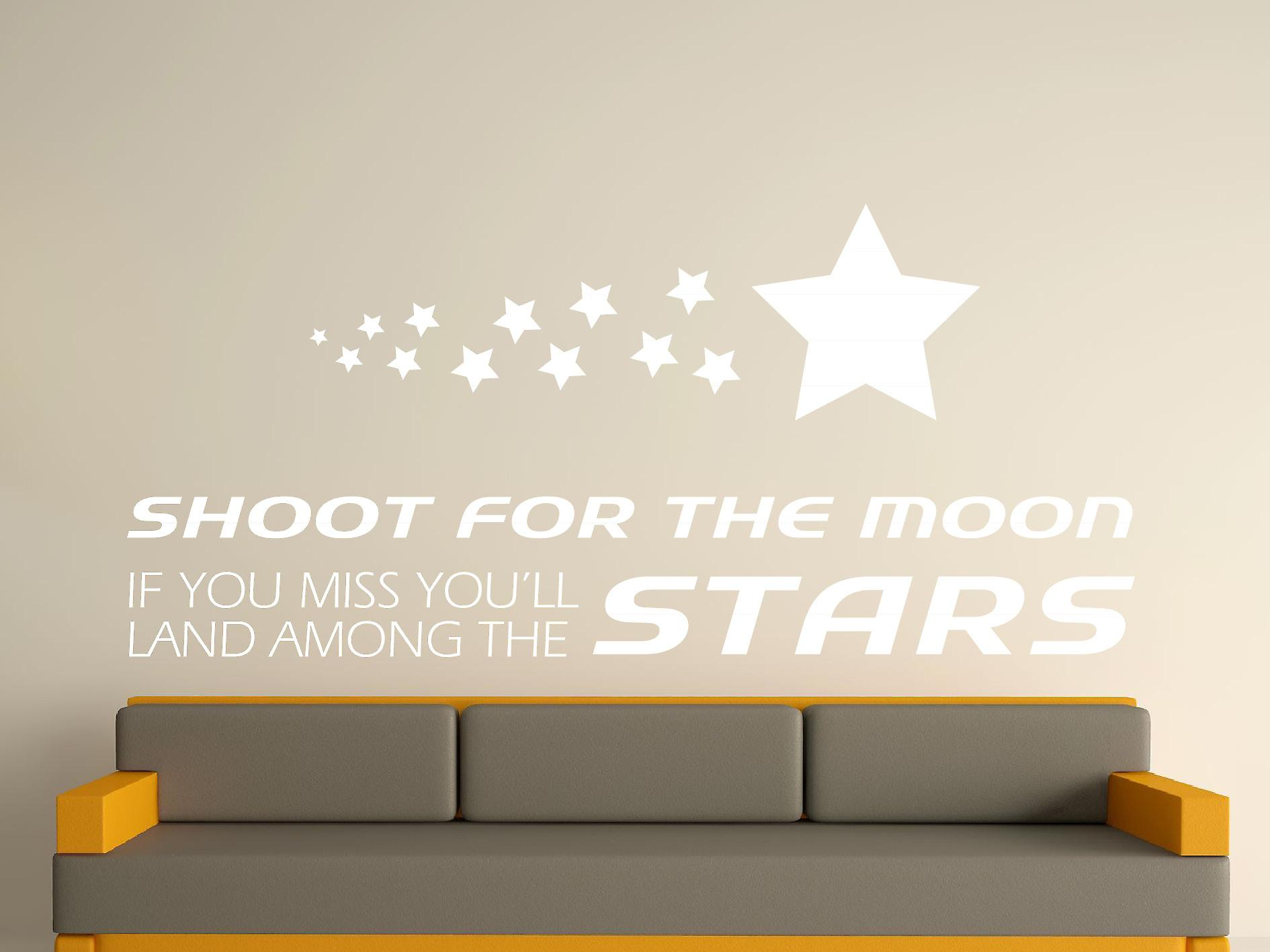 Shoot For The Moon Wall Art Sticker - White