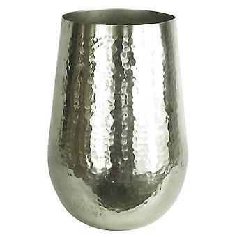 Leaf Tall Metal Silver Vase Planter Large 20 x 30cm