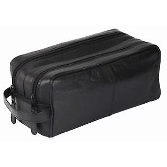 Famego Luxury Black Leather Travel Wash Bag