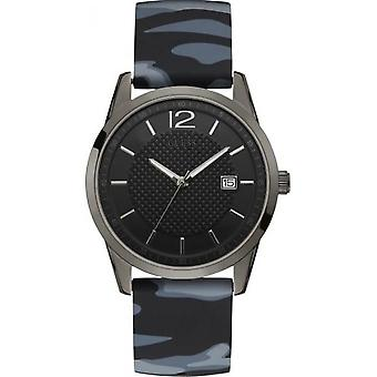 Guess W0991G6 watch - Black dial black man and PERRY case steel black Bracelet Silicone blue