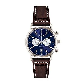 Rotary Chronograph Silver Brown Leather Strap Mens Watch GS02730/05 40mm