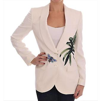 White Wool Crystal Blazer Jacket -- JKT1548656