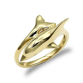 Jewelco London Damen solide 9ct Gelbgold Delphin Wrap Ring
