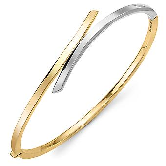 Jewelco London 9ct 2-Colour Gold Crossover Bangle Bracelet