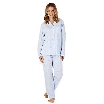 Slenderella PJ4128 Women's Jersey Floral Lace Pyjama Set