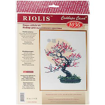 Bonsai Of Sakura Wish Of Well Being Counted Cross Stitch Kit-13.75