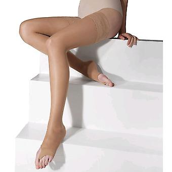 Solidea Marilyn 140 Open Toe Sheer Support Thigh Highs [Style 518A4] Camel (Sandy Beige)  XL