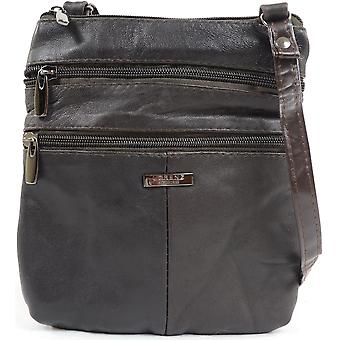 Ladies / Womens Practical Soft Nappa Leather Across Body / Shoulder Bag