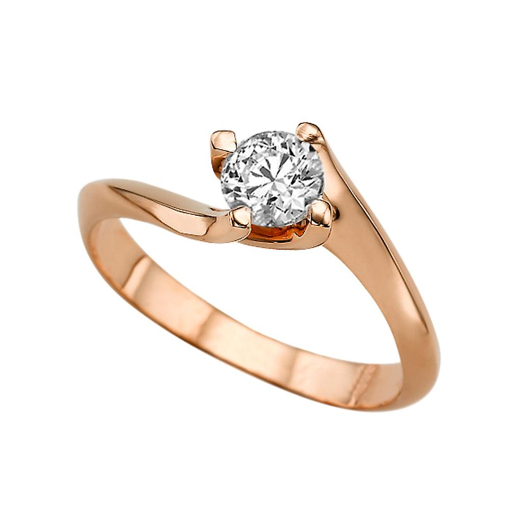 0,60 CT 5,50 MM Forever une Moissanite EngageHommest sacue 14K Or Rose 4 broches Twist rond