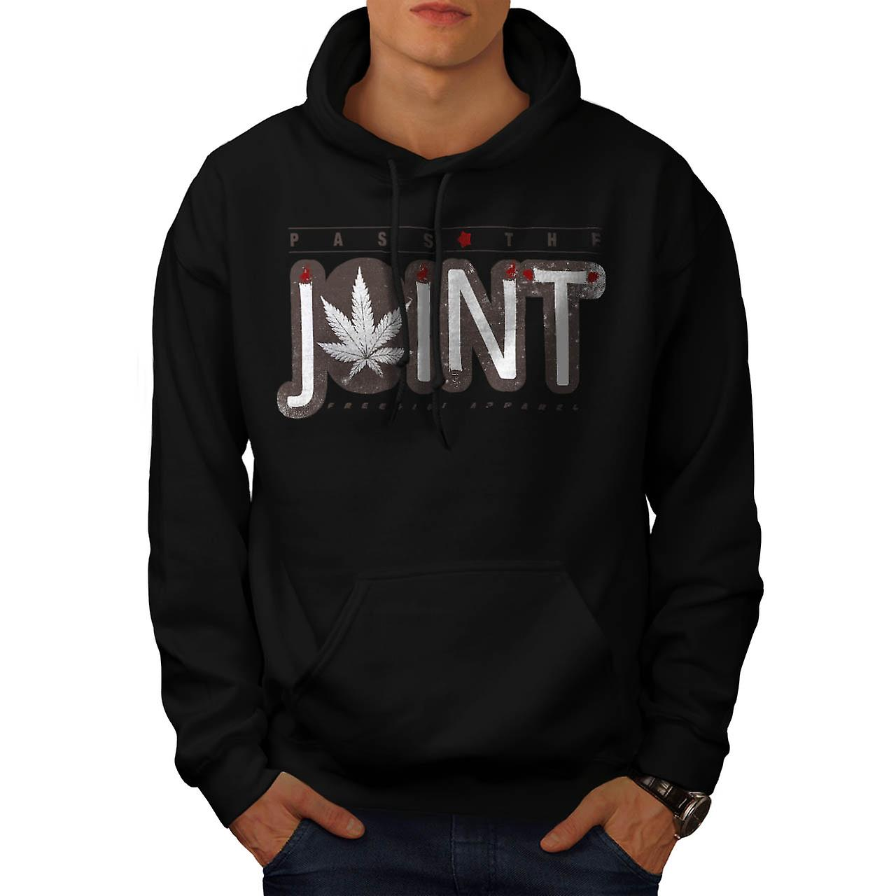 Burner Pass The Joint Smoke Weed Men Black Hoodie | Wellcoda