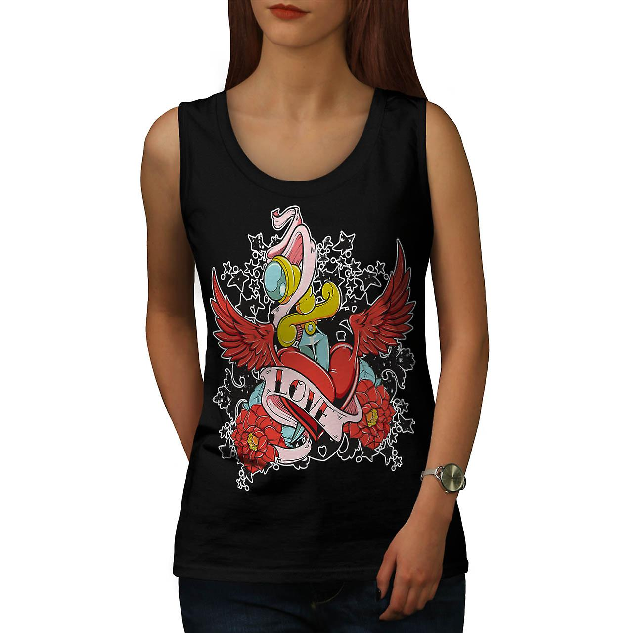 Love Hurts Rose Vintage Women Black Tank Top | Wellcoda