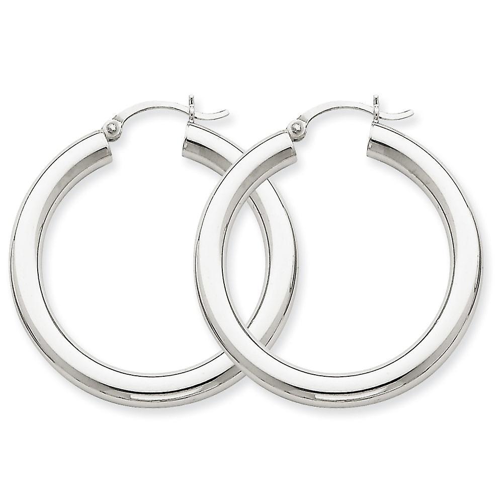 14k blanc or Hollow Polished 4mm X 35mm Tube Hoop Earrings - 3.6 Grams