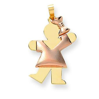 14k Two-Tone Gold Puffed Girl with Bow on Right Engraveable Charm - 2.5 Grams