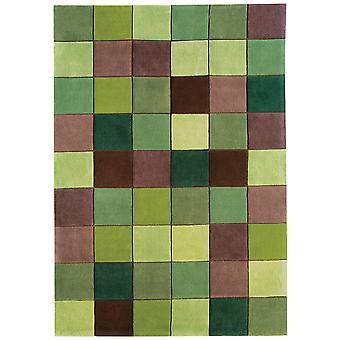 Torrance Green Squares Contemporary Acrylic Rug