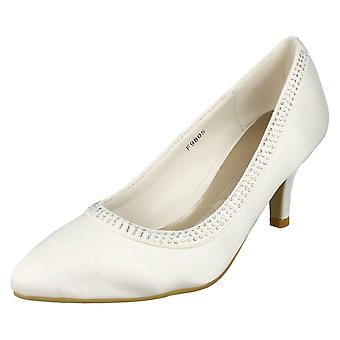 Ladies Anne Michelle Bridal Mid Heel Shoes with Sequins F9805
