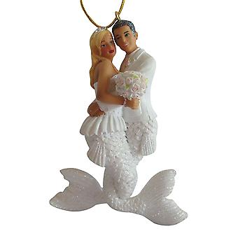 Bride and Groom Wedding Mermaid and Merman Holiday Ornament December Diamonds