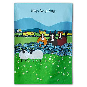 Thomas Joseph Tea Towel, Nag, Nag, Nag Sheep Design