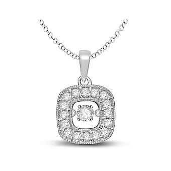 Glittering Stars Dancing Diamond Halo Pendant 1/4 Carat (ctw) 10K White Gold with Chain
