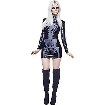 Лихорадка коллекции Мисс хлыстовых скелет костюм черный печатных платье размер M