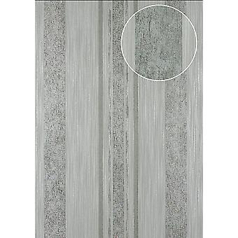 Stripes wallpaper Atlas 24C-9505-2 non-woven wallpaper smooth with graphic patterns, and metallic accents grey silver Platinum 7,035 m2