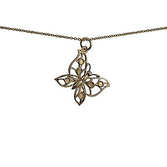 9ct Gold 25x19mm Butterfly Pendant with a cable Chain 16 inches Only Suitable for Children