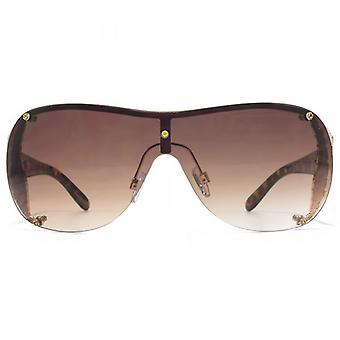 Carvela Metal Trim Visor Sunglasses In Gold