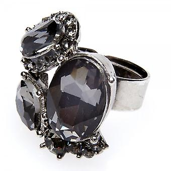 Camille Womens Ladies Fashion Jewellery Black Cluster Adjustable Diamante Ring