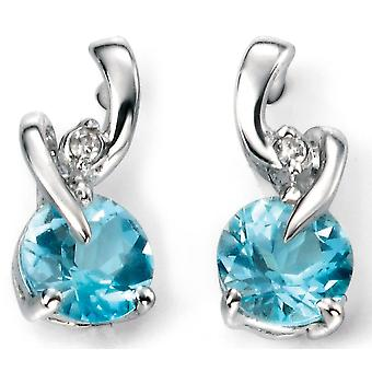 9 CT White Gold With Blue Topaz And Diamond Earring