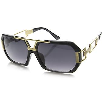 Large Fashion Square Urban Spec Style Sunglasses with Die Cut  Metal Arms