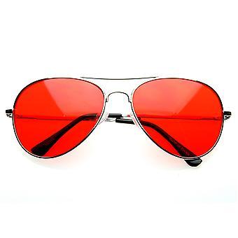 Colorful Premium Silver Metal Aviator Glasses with Color Lens Sunglasses