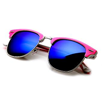 Neon Two-Tone Color Mirror Lens Half Frame Horn Rimmed Sunglasses