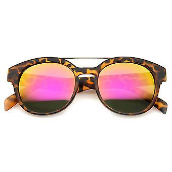 Moderne slanke metalen dwarsbalk iriserende Lens hoorn omrande zonnebril 51mm