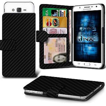 ONX3 Samsung Galaxy anmärkning 6 läder Universal våren Clamp plånbok fallet med kortinnehavaren Slot och sedlar Pocket-kimrök