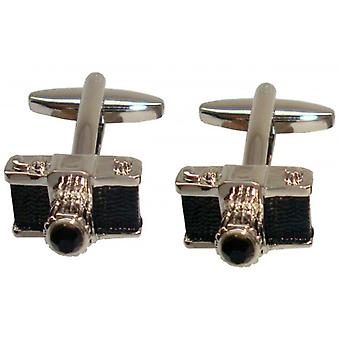 Bassin and Brown Camera Cufflinks - Black/Silver