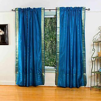 Turquoise Rod Pocket  Sheer Sari Curtain / Drape / Panel  - Piece