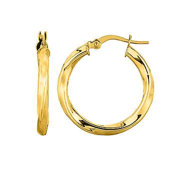 14K Yellow Gold Round Tube Italian Twist Hoop Earrings, Diameter 20mm