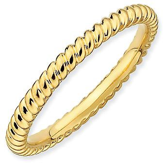 Sterling Silver Stackable Expressions Gold-plated Twisted Ring - Ring Size: 5 to 10