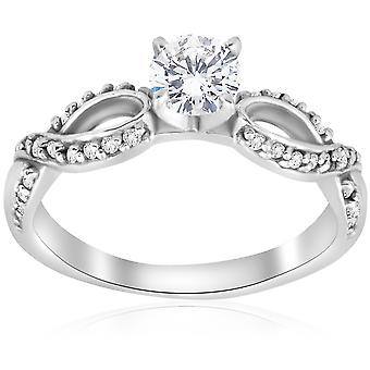 5/8 ct Diamond Engagement Infinity Crossover Ring 14K White Gold