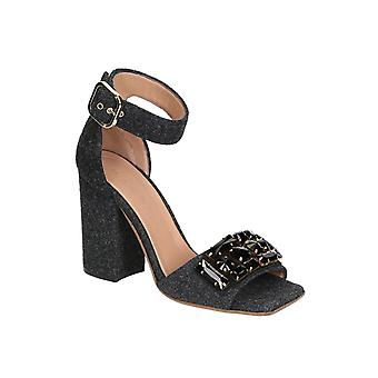 Marni high heels sandals in Dark Gray Felt with crystals