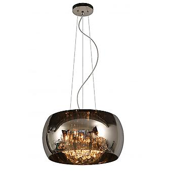 Lucide Modern Small Smoked Glass Circular Suspended Light With Crystals