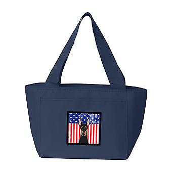 Carolines tesori BB2175NA-8808 bandiera americana e Doberman Lunch Bag