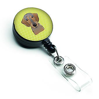 Checkerboard Lime Green Wirehaired Dachshund Retractable Badge Reel