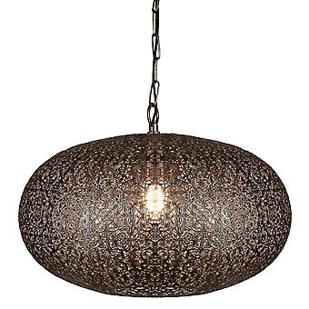 Searchlight 2672CU Fretwork One Light Ceiling Pendant Light In Copper With Patterned Finish